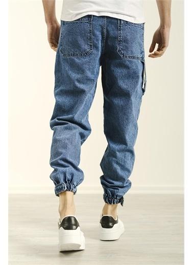 Oksit Craig Paçası Ribanalı Askı Detaylı Erkek Jean Pantolon Mavi